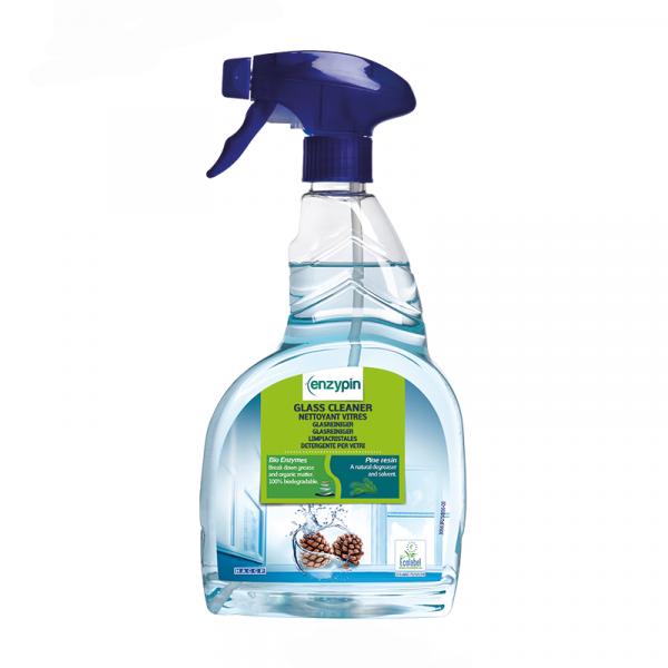Blaue Sprühflasche mit grünem Etikett