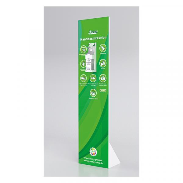 Grüner Desinfektionsständer aus Holz
