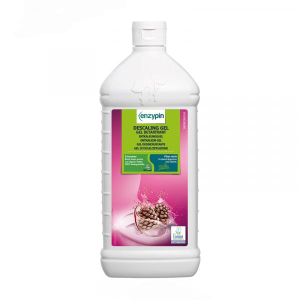 Weiße Flasche mit Pink-grünem Etikett